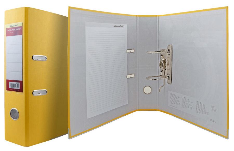 Папка-регистратор Silwerhof 355021-05 A4 75мм ПВХ/бумага желтый мет.окант. смен.карм. на кор.