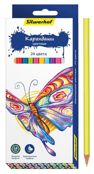 Карандаши цветные Silwerhof 134196-24 Бабочки шестигран. 2.8мм 24цв. коробка/европод.