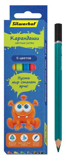Карандаши цветные Silwerhof 134203-06 Джинсовая коллекция трехгран. 5мм 6цв. Jumbo коробка/европод.