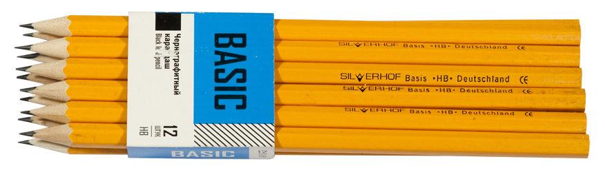 Карандаш чернографит. Silwerhof BASIC 125035-03 HB шестигран. грифель 2мм корпус желтый картонная пе