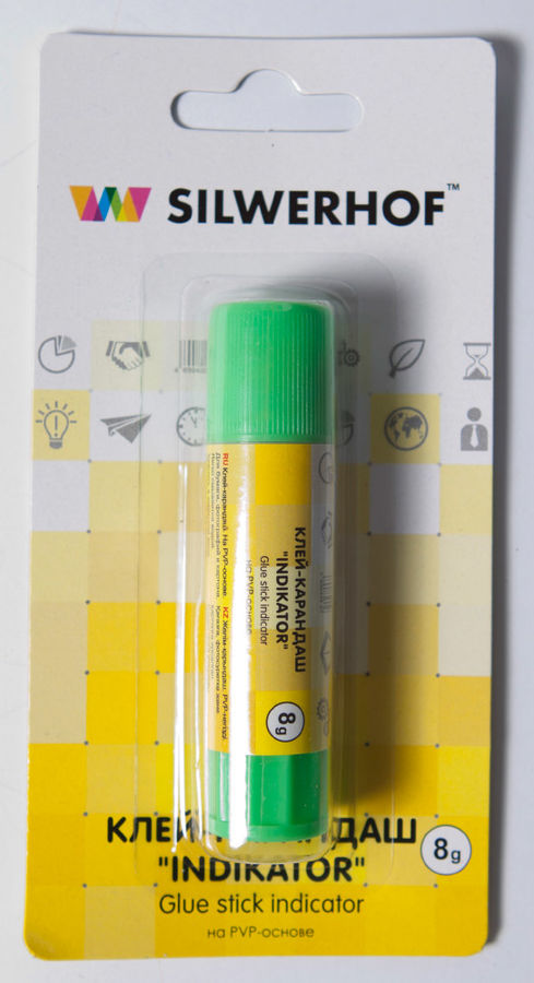 Клей-карандаш Silwerhof INDIKATOR 431208 8гр ПВП блистер цветной (исчезающий цвет)