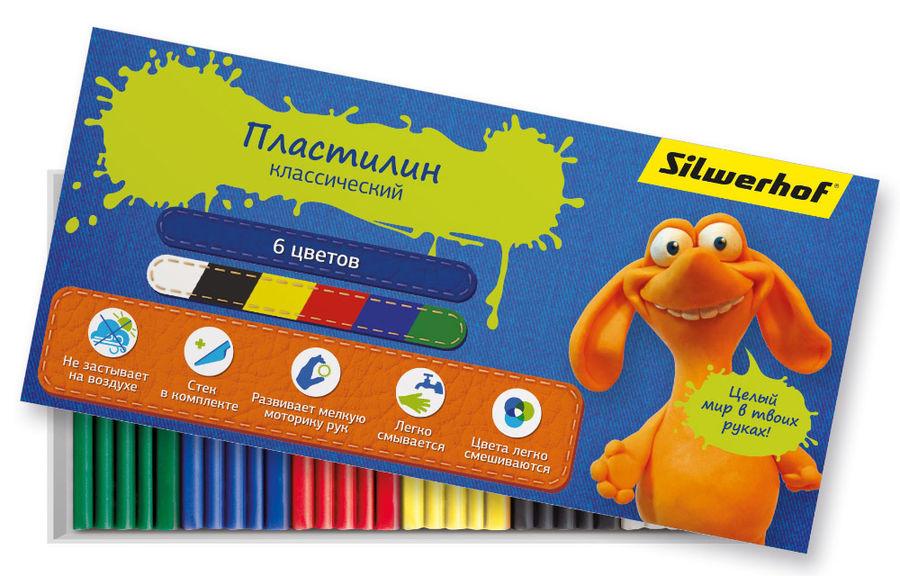 Пластилин Silwerhof 956143-06 Джинсовая кол-ция 6цв. 120гр. стек картон.кор.
