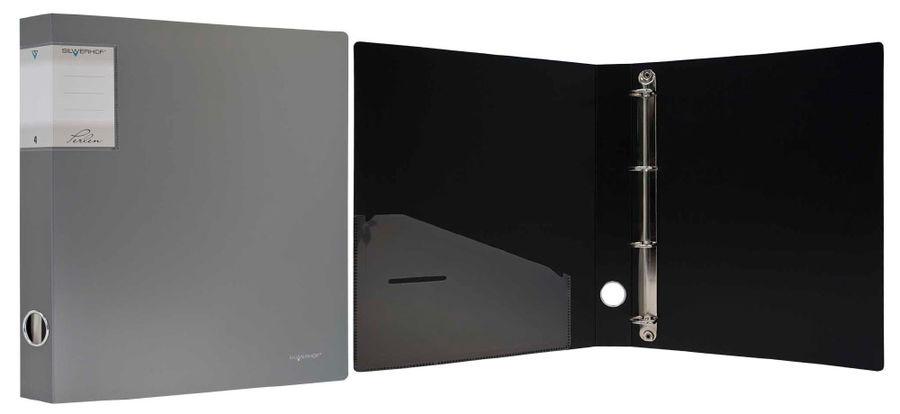 Папка на 4-х D-кольцах Silwerhof Perlen 271954-77 A4 1.1мм кор.38мм внут.и торц.карм серебристый мет