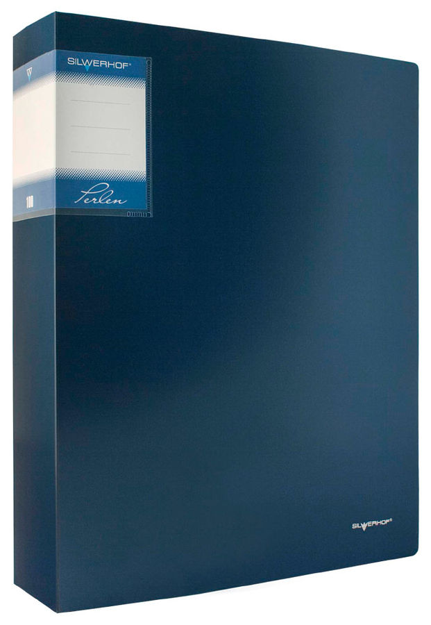 Папка с 100 прозр.вклад. Silwerhof Perlen 291900-74 A4 полипропилен 1.2мм карман синий металлик