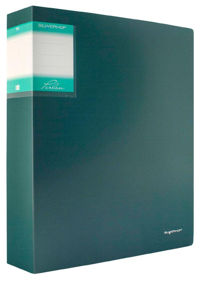 Папка с 100 прозр.вклад. Silwerhof Perlen 291900-75 A4 1.2мм карман зеленый металлик