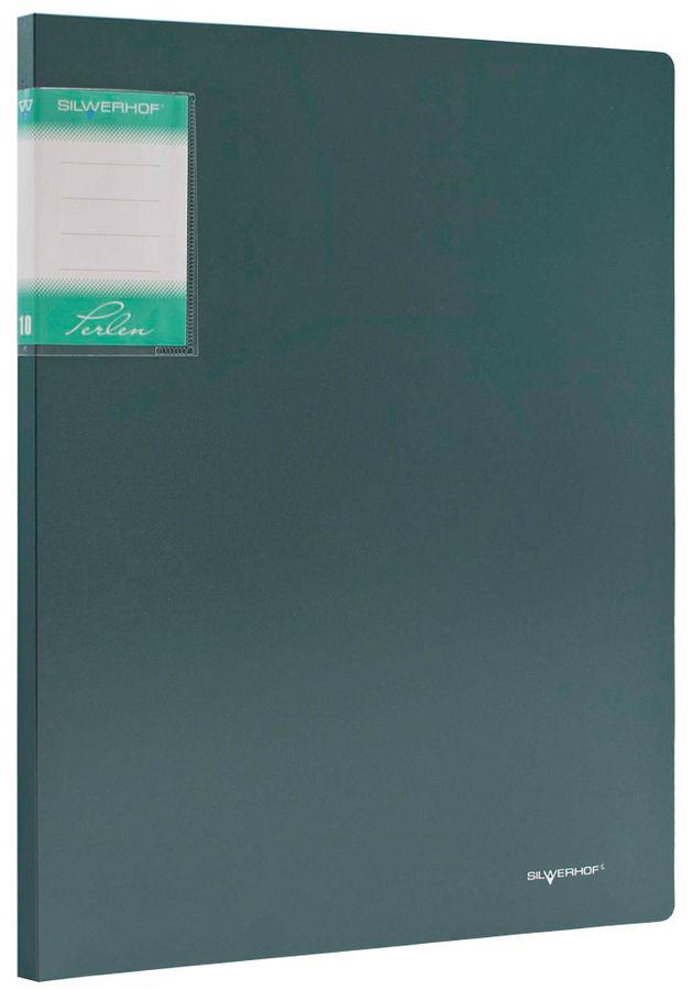Папка с 10 прозр.вклад. Silwerhof Perlen 291910-75 A4 0.6мм карман зеленый металлик