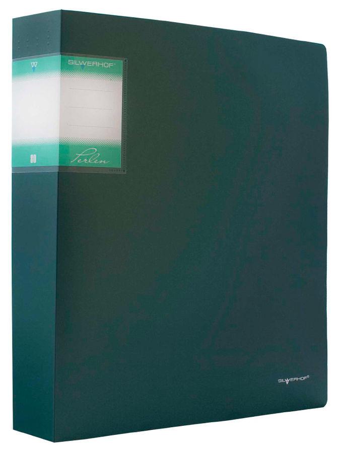 Папка с 80 прозр.вклад. Silwerhof Perlen 291980-75 A4 1.1мм карман зеленый металлик