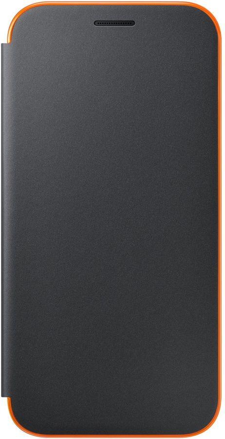 Чехол (флип-кейс) SAMSUNG Neon Flip Cover, для Samsung Galaxy A7 (2017), черный [ef-fa720pbegru]