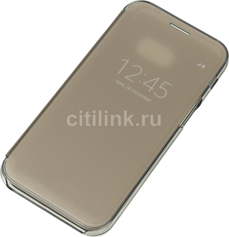 Чехол (флип-кейс) SAMSUNG Clear View Cover, для Samsung Galaxy A5 (2017), золотистый [ef-za520cfegru]