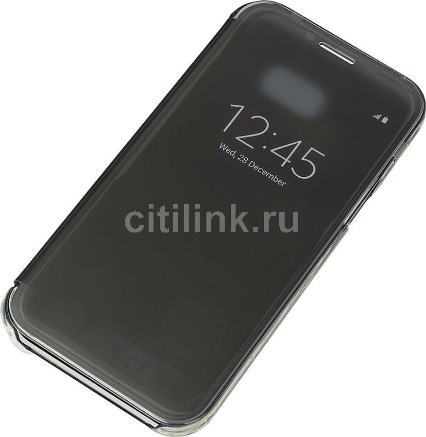Чехол (флип-кейс) SAMSUNG Clear View Cover, для Samsung Galaxy A7 (2017), черный (прозрачный) [ef-za720cbegru]