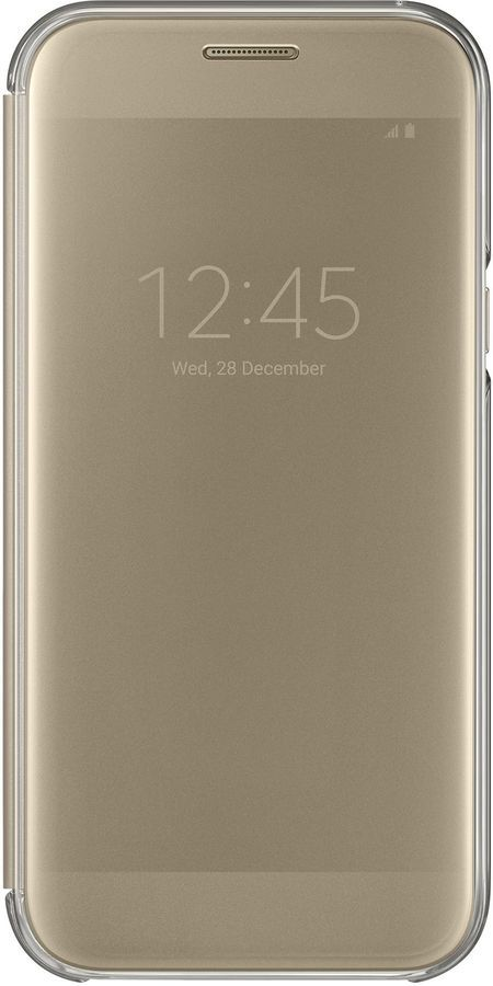 Чехол (флип-кейс) SAMSUNG Clear View Cover, для Samsung Galaxy A7 (2017), золотистый [ef-za720cfegru]