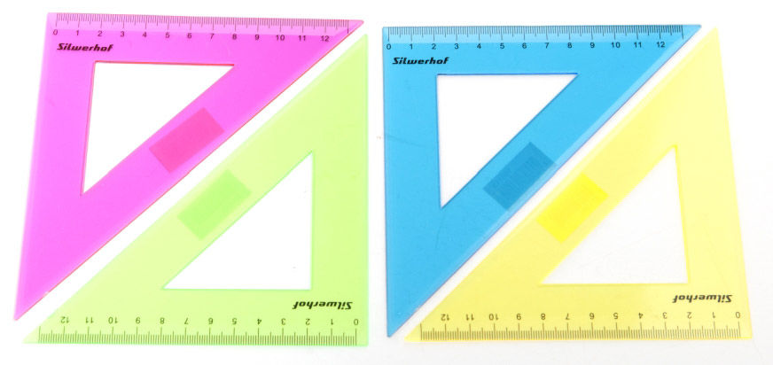 Треугольник Silwerhof 160143 пластик дл.13см ассорти/прозрачный 45градус. спайка