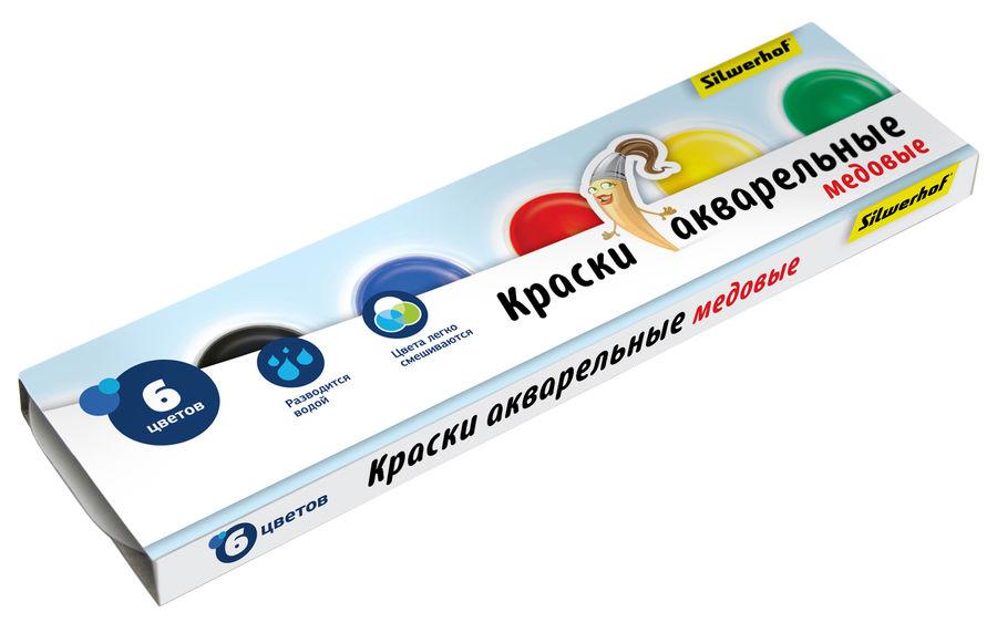 Краски акварельные Silwerhof 961126-06 Народная кол-ция медовые 6цв. без кисти картон.кор.