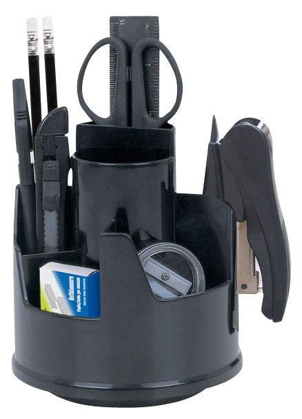Настольный набор SILWERHOF Classic, вращающийся, пластик, 12 предметов, черный [172012-01]