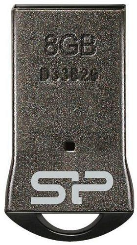 Флешка USB SILICON POWER Touch T01 8Гб, USB2.0, черный и серебристый [sp008gbuf2t01v3k]