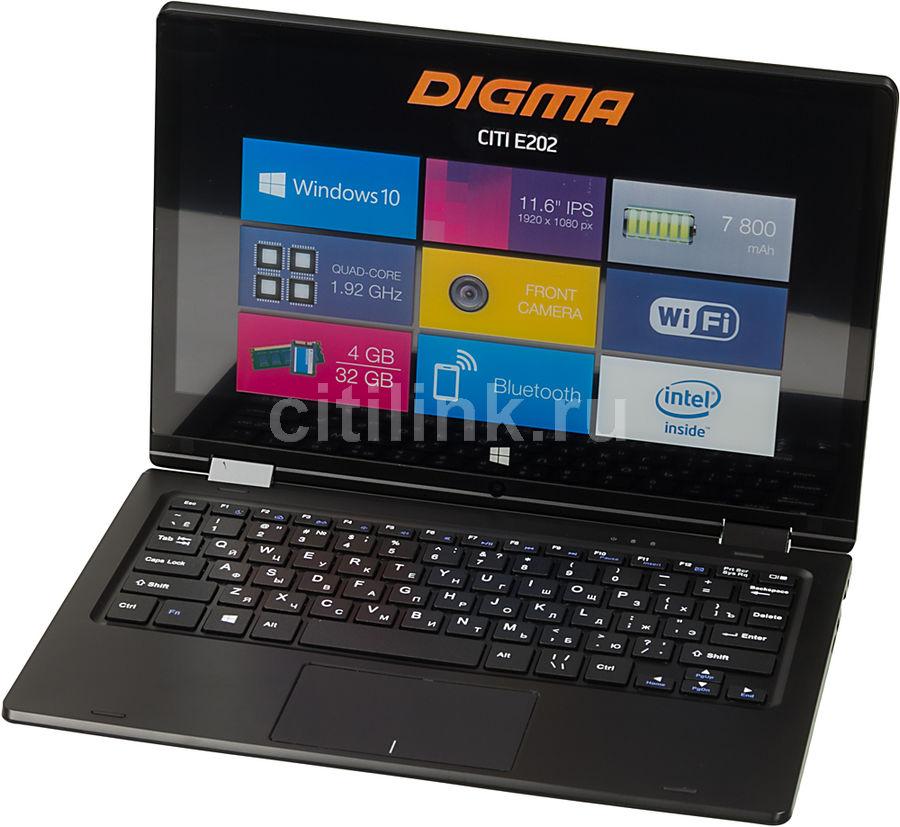 "Ноутбук-трансформер DIGMA CITI E202, 11.6"",  IPS, Intel  Atom X5  Z8350 1.44ГГц, 4Гб, 32Гб SSD,  Intel HD Graphics  400, Windows 10 Home, ES2002EW,  черный"