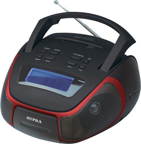 Аудиомагнитола SUPRA BB-25MUS,  черный и красный