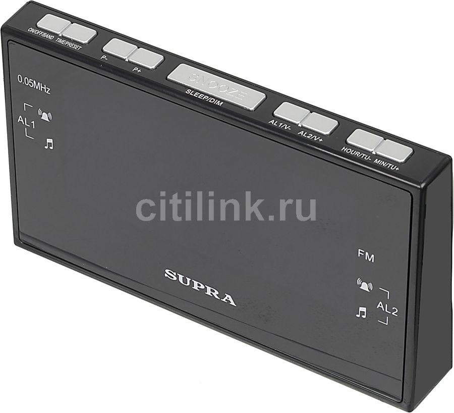 Радиобудильник Supra SA-43FM черный LCD подсв:синяя часы:цифровые AM/FM
