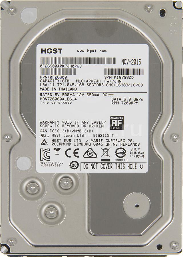 "Жесткий диск HGST NAS H3IKNAS600012872SWW,  6Тб,  HDD,  SATA III,  3.5"" [0s04007]"