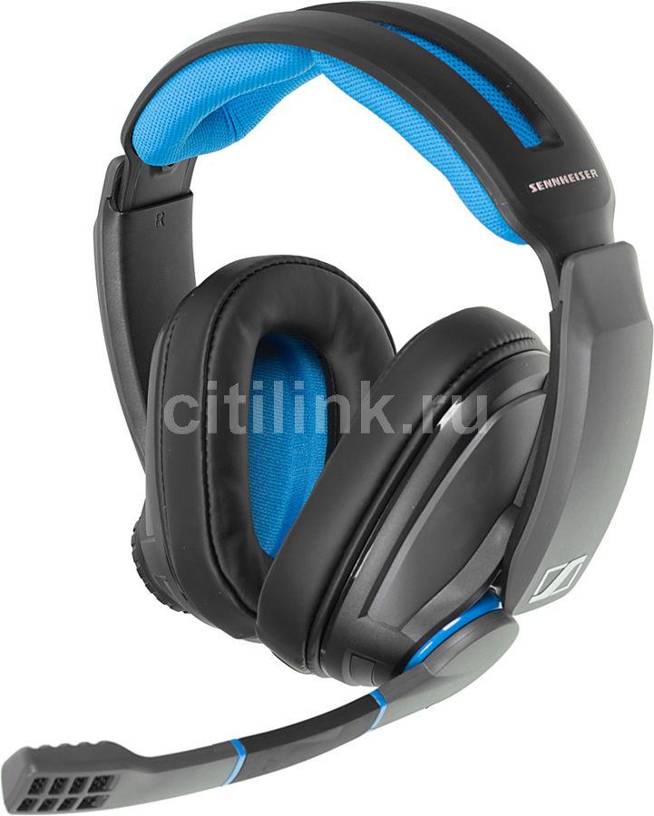 Наушники с микрофоном SENNHEISER GSP 300,  накладные, черный  / синий [507079]