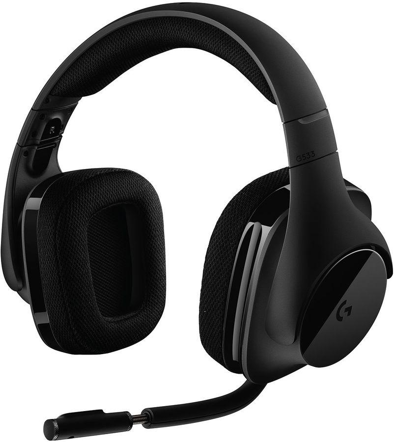Наушники с микрофоном LOGITECH G533,  мониторы, радио,  черный  [981-000634]