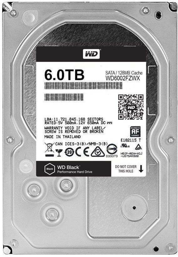 Жесткий диск WD Black WD6002FZWX,  6Тб,  HDD,  SATA III,  3.5