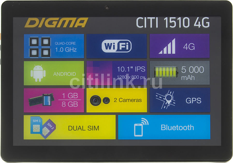 Планшет DIGMA CITI 1510 4G, 1GB, 8GB, 3G, 4G, Android 6.0 черный [cs1116ml] digma platina 8 1 4g 8 1gb 16gb wifi bt 3g android 4 4 black