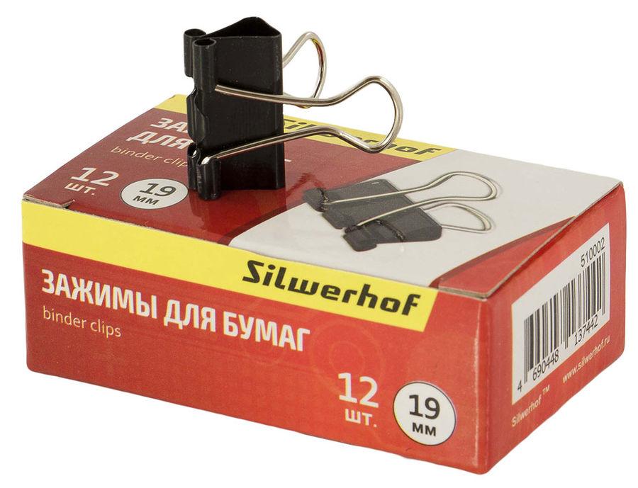 Зажимы Silwerhof 510002 сталь 19мм черный (упак.:12шт) картонная коробка