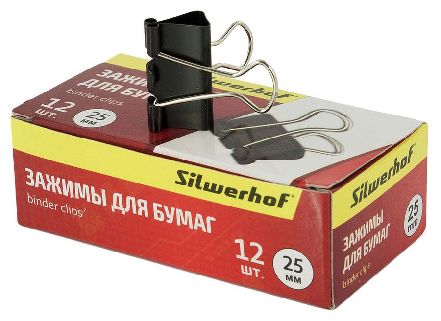 Зажимы Silwerhof 510003 сталь 25мм черный (упак.:12шт) картонная коробка