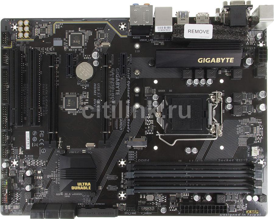 Материнская плата GIGABYTE GA-B250-HD3, LGA 1151, Intel B250, ATX, Ret