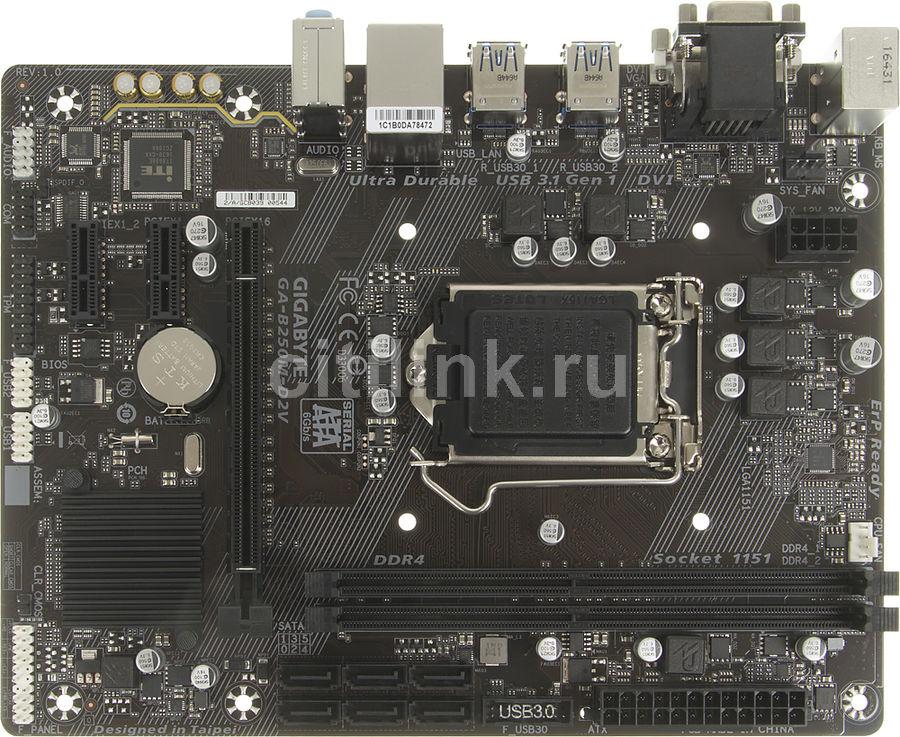 Материнская плата Gigabyte GA-B250M-D2V Soc-1151 Intel B250 2xDDR4 mATX AC`97 8ch( (отремонтированный)
