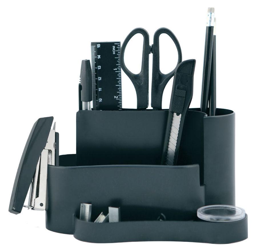Настольный набор SILWERHOF пластик, 12 предметов, черный [172014-01]