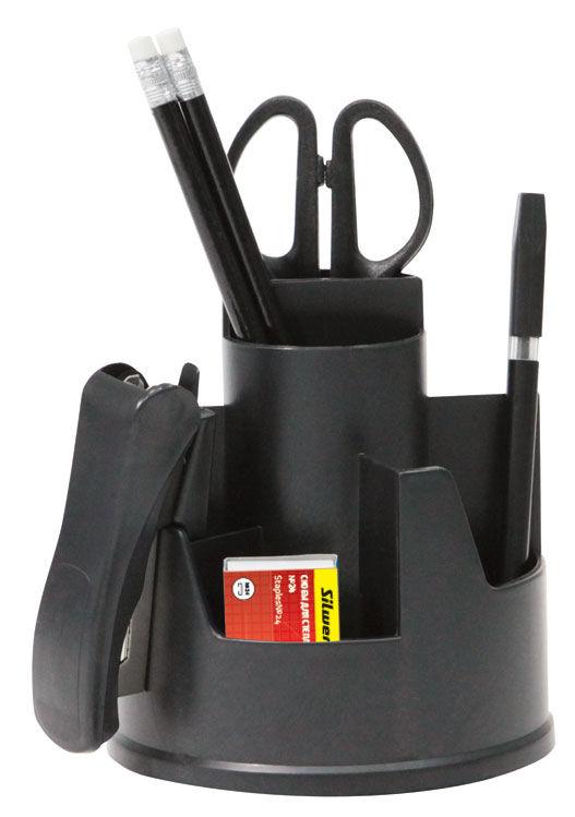 Настольный набор SILWERHOF вращающаяся конструкция, пластик, 8 предметов, черный [172005-01]