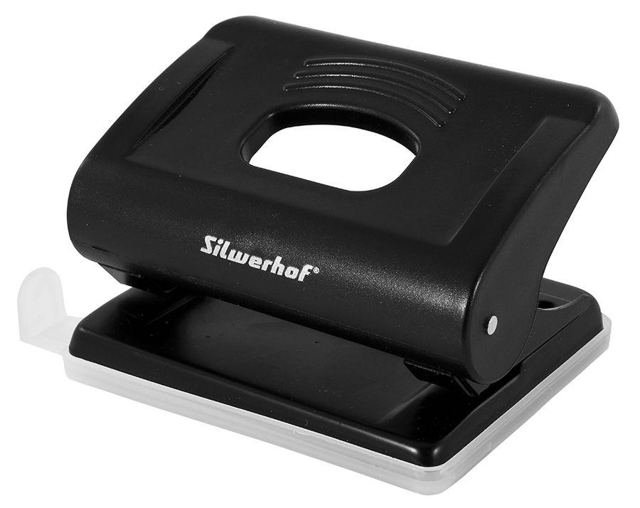 Дырокол Silwerhof 391036-01 макс.:15лист. пластик черный отв.:2 с линейкой