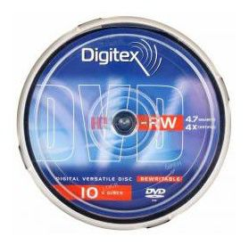 Оптический диск DVD-RW DIGITEX 4.7Гб 4x, 10шт., DVD-RW47B4-C10, cake box