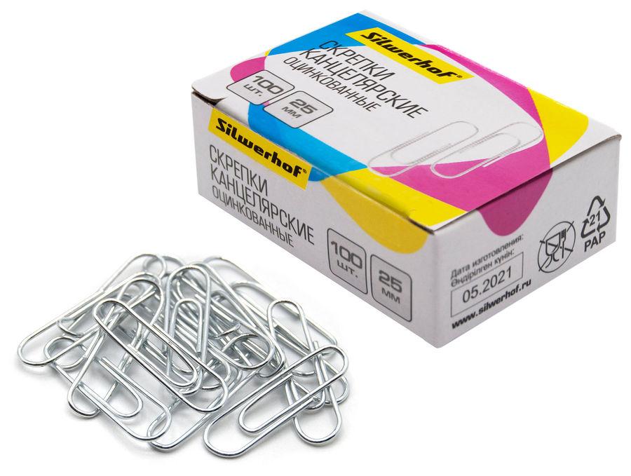 Скрепки Silwerhof 491028 металл оцинкованные 25мм (упак.:100шт) картонная коробка