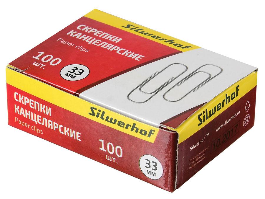 Скрепки Silwerhof 491031 металл оцинкованные 33мм (упак.:100шт) картонная коробка