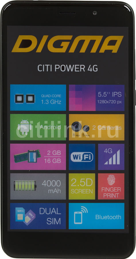 Смартфон DIGMA Power 4G CITI, черный смартфон digma s505 3g vox черный