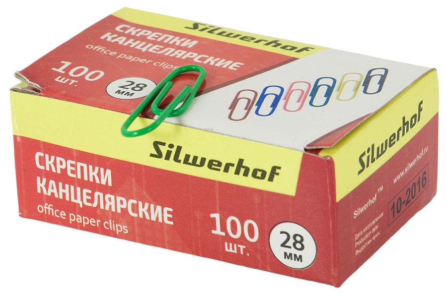 Скрепки Silwerhof 492018 металл пластиковая оболочка 28мм ассорти (упак.:100шт) картонная коробка
