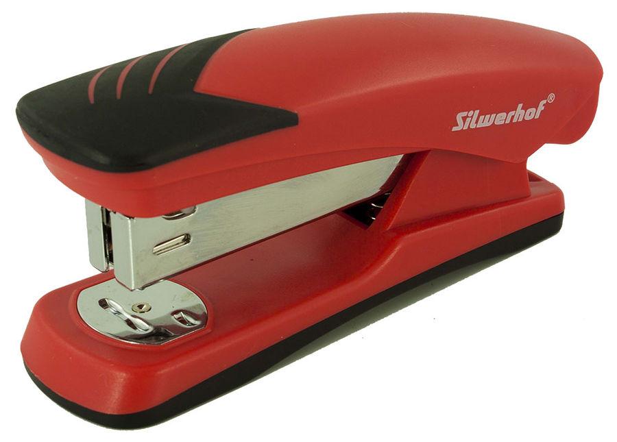 Степлер Silwerhof 401023-28 SHARK 24/6 (20листов) красный/черный 100скоб коробка