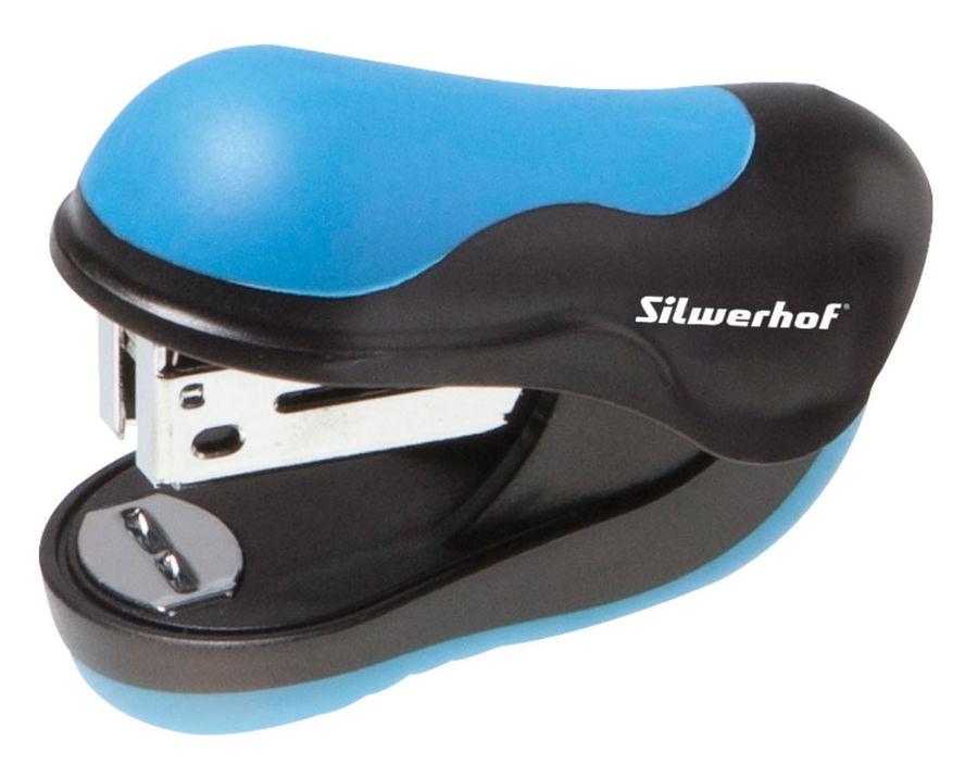 Степлер мини Silwerhof 401062-02 24/6 (10листов) синий/черный 35скоб пластик коробка