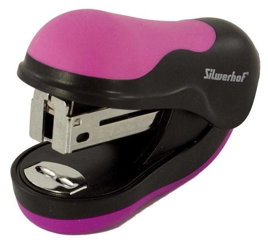 Степлер мини Silwerhof 401062-37 24/6 (10листов) розовый/черный 35скоб пластик коробка