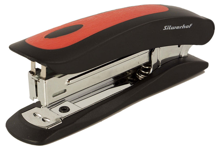 Степлер Silwerhof 401009-28 CORTEX N10 (12листов) встроенный антистеплер черный/красный 100скоб плас