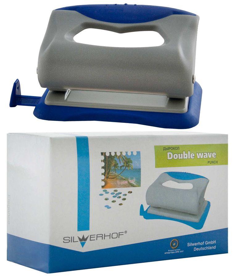 Дырокол Silwerhof DOUBLE WAVE 391001-02 макс.:10лист. пластик серый/синий отв.:2 с линейкой
