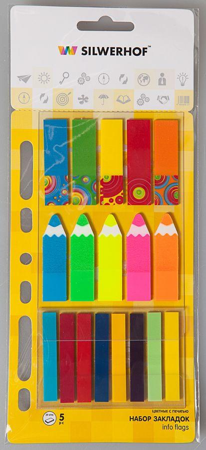 Закладки самокл. пластиковые Silwerhof 801005 45x12мм 6цв.в упак. 20лист с печатью 45x12мм 5шт.