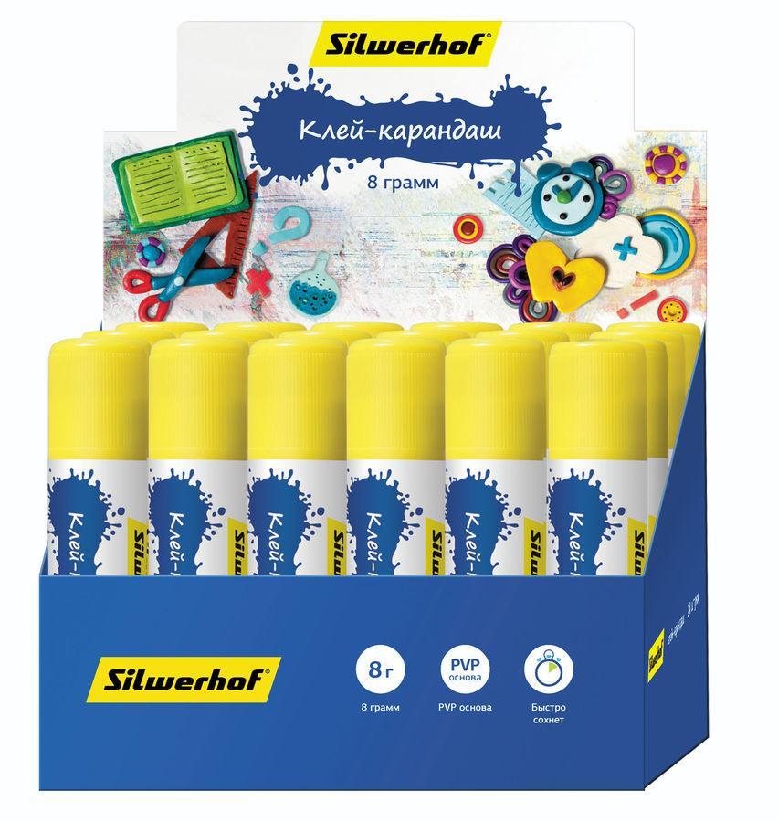 Клей-карандаш Silwerhof 431053-08 8гр ПВП дисплей картонный Пластилиновая коллекция