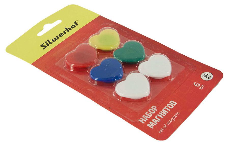 Магнит для досок Silwerhof Elegance 658004-02 пластик ассорти d=30мм сердце (упак.:6шт)
