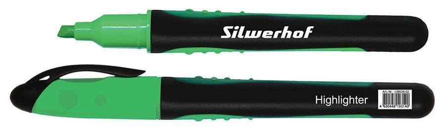 Текстовыделитель Silwerhof INTENS 108028-02 1-4мм резиновый грип зеленый картон