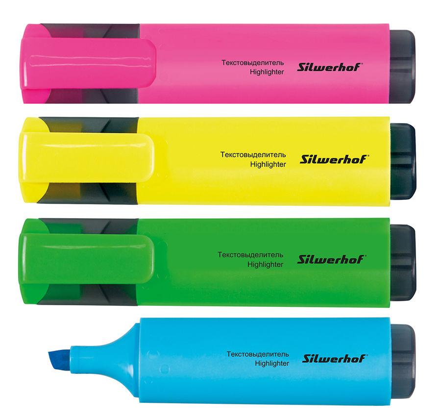 Набор текстовыделителей Silwerhof 108032-00 скошенный пиш. наконечник 1-4мм 4цв. пакет с европодвесо