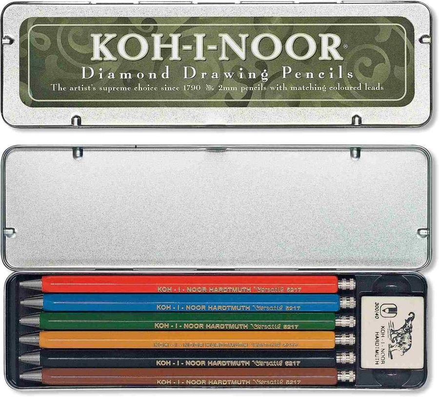 Карандаш механический Koh-I-Noor VERSATIL 5217 52170N2001PL 2мм ластик метал. корпус цанговый ассорт